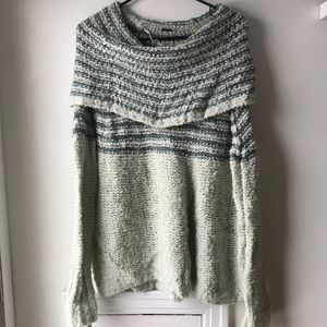 Free People off the shoulder blue sweater